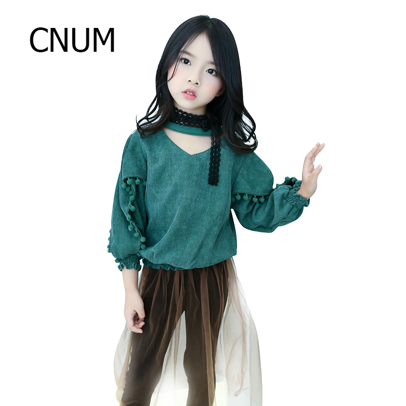 CNUM Long Sleeved Big Girls Tops Designs Tees Teenage  Girls T Shirts for Kids Clothing Cotton 2017 Autumn Girls Clothes Outfits