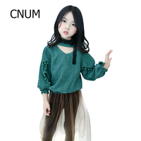 CNUM Long Sleeved Big Girls Tops Designs Tees Teenage Girls T Shirts For Kids Clothing Cotton
