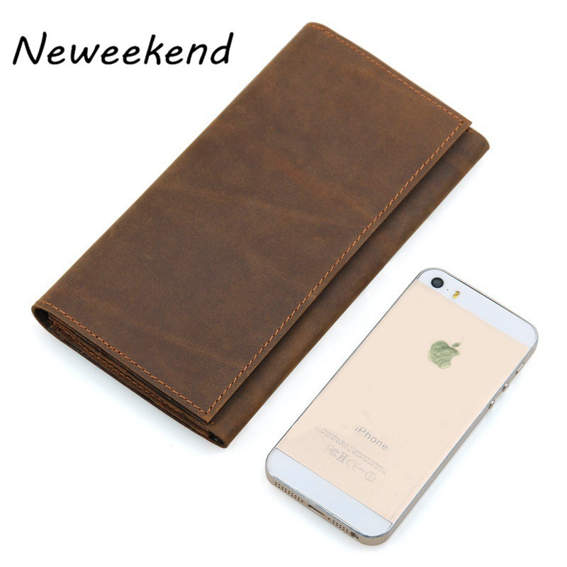 NEWEEKEND 100% top quality cow genuine leather men wallets luxury,dollar price long style male purse 358