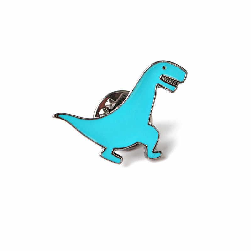 かわいい恐竜女性ブローチとピンエナメル子供セーターブローチ女性メンズブローチジュエリーブルーピンとブローチヴィンテージ G