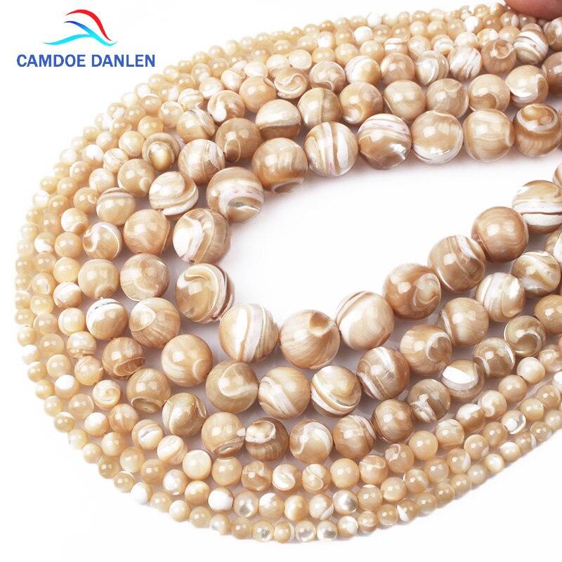 Shell Beads Jewelry-Making Brown Natural 10 DIY for Women 4 5 6 8 12mm Camdoe Danlen