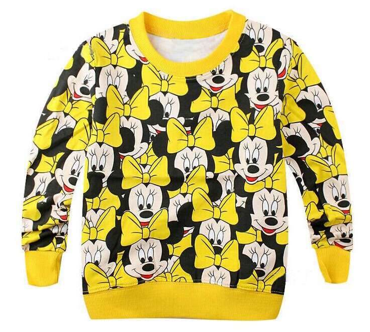 Hot Sell autumn children casual sweater terry hoody cartoon girl t shirt / top bowknot printed cute baby girls clothes cotton 1