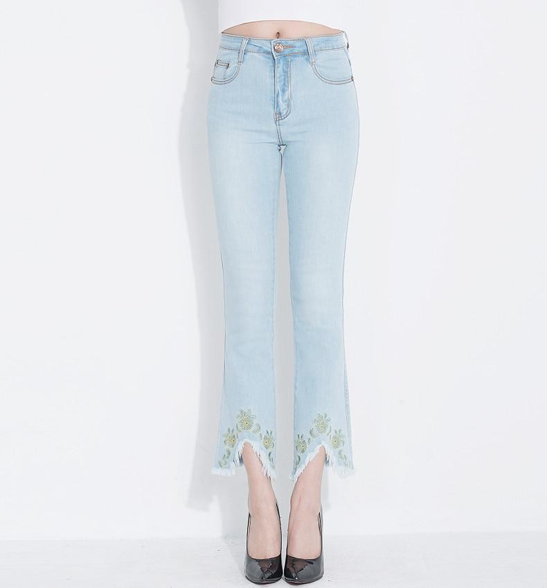 KSTUN FERZIGE Jeans for Women 2020 Summer High Waist Embroidery Stretch Slim Thin Light Blue Boot Cut  Sexy Ladies Flared Pants Femme 16