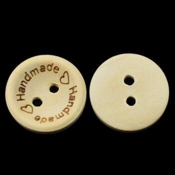 50 個 2 穴木製ボタン自然な色手作り手紙愛ボタン針仕事スクラップブッキング新年縫製アクセサリー