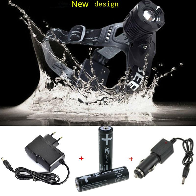 2000Lm Zoom XM-L T6 LED Headlight Headlamp 3 Modes Rechargeable Head torch light +2pcs 18650 Batteries +AC/Car Charger