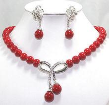 Compras libres! verde jade blanco perla collar coralino rojo Set pendientes pendientes cristalinos