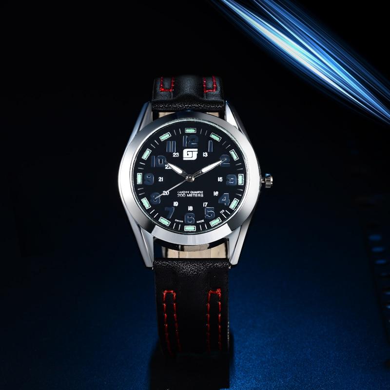 New Luxury Brand GUOTE Men Black Luminous Fashin Casual Quartz Watch Men  Leather Watches Relogio Masculino Wristwatch Hot Sale