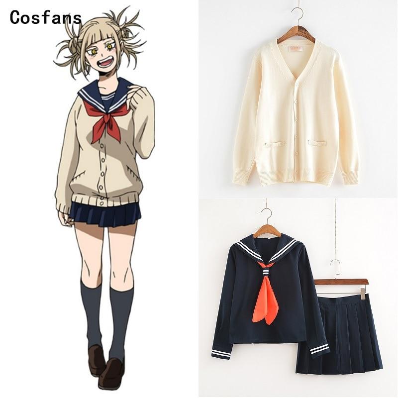 New My Hero Academia Cosplay Costume Anime Cosplay Boku No Hero Academia Himiko Toga JK Uniform Women Sailor Suits With Sweaters
