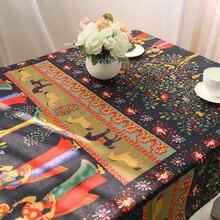 Manteles Vintage de lino con encaje, manteles pintados para mesa, manteles para microondas, manteles para mesa rectangulares, decoración para el hogar