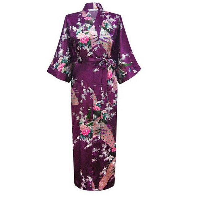 e68ae5db8f7 Hot Sale Purple Femmes Rayon Robes Gown Kimono Yukata Chinese Women Sexy  Lingerie Flower Sleepwear Plus SizeS M L XL XXL XXXL