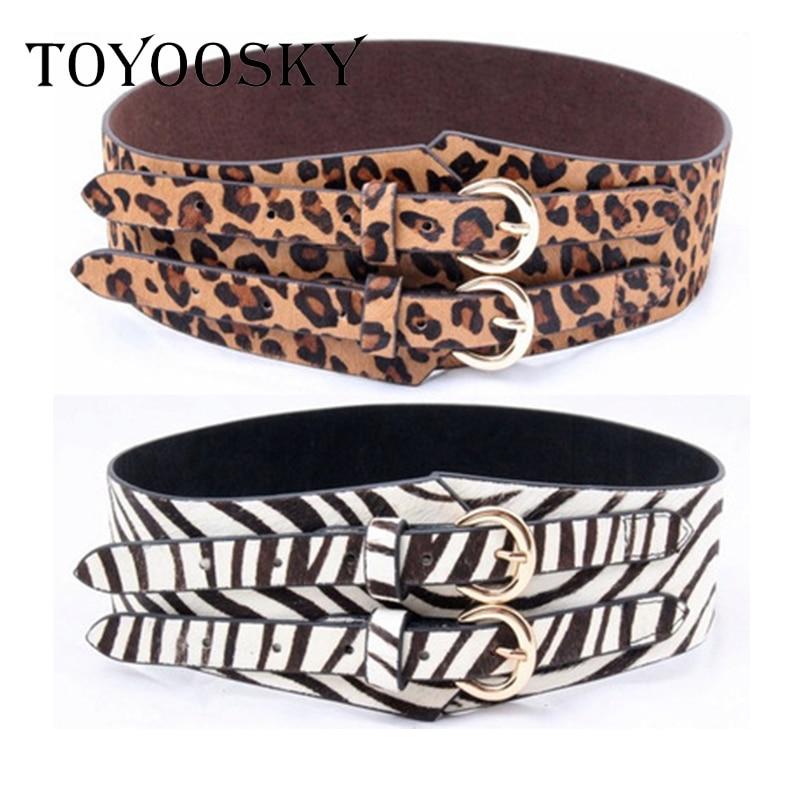 Double Buckle Designer Wide Leopard Corset   Belt   Women All-Match Genuine Leather   Belt   Zebra Pattern Horsehair Waist   Belts   Riem