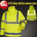 [Na venda] Oi vis jaqueta workwear trabalho fluorescente amarelo à prova d' água jaqueta de segurança