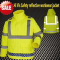 [On  sale ] Hi vis workwear work jacket  fluorescent yellow waterproof safety jacket