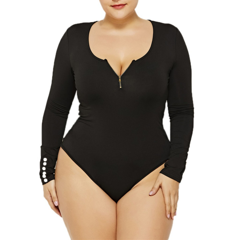 FREE OSTRICH plus size   jumpsuit   fashion ladies sexy round neck zipper body long sleeves super large size solid color   jumpsuit