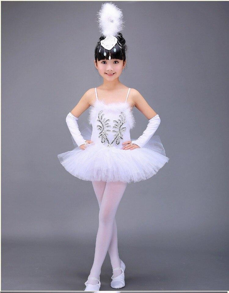 White Swan Lake Ballet Costume Summer Tutu Gymnastics Leotard Ballerina Clothes Children Stage Show Ballet Dress For Girls Kids