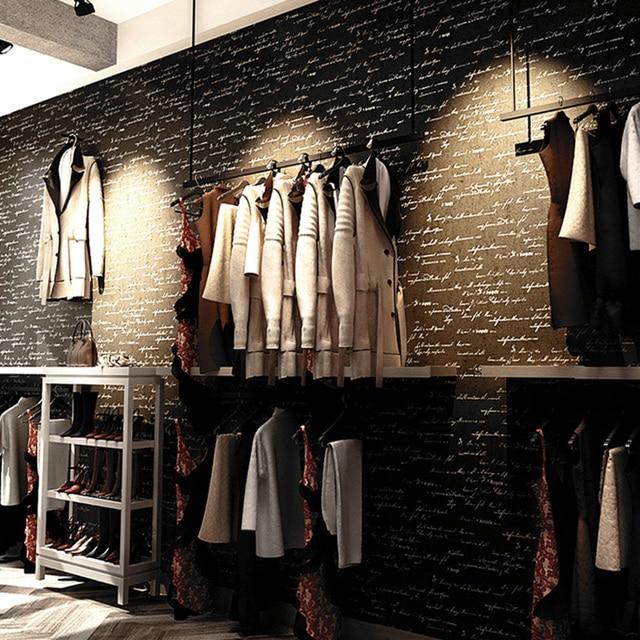 half off 0ea97 5455c US $25.32 26% di SCONTO PVC Carta Da Parati In Vinile Vintage Creativo 3D  Inglese Lettera Negozio di Abbigliamento Cafe Restaurant Interior Decor ...