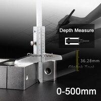 Vernier Caliper Depth 0 500mm/0.02mm Carbon Steel Metric Rule Gauge Micrometer Measure Tools With Storage Box