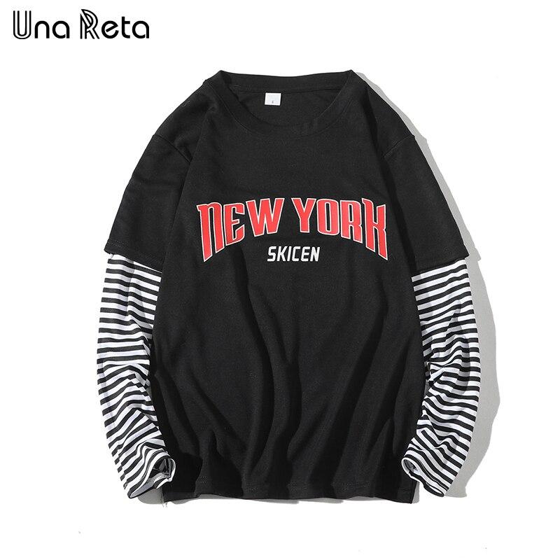 Camiseta masculina primavera harajuku ununa reta camisa masculina roupas hip-hop listra emendando t topo falso duas peças de manga longa camiseta do homem