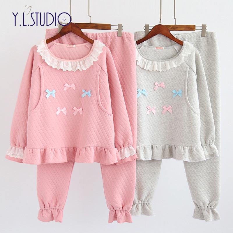 Winter camisones para embarazadas maternity pajama set nightwear pijama women feeding cotton sleepwear maternity set plus size rabbit print pajama set