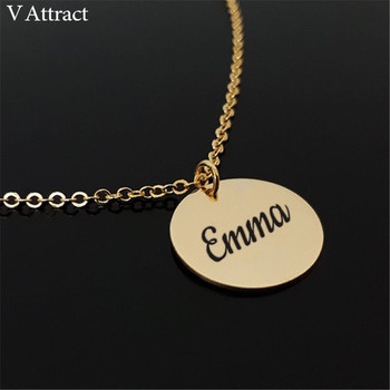 15*15mm Nameplate Bijoux Femme Personalized Name Round Pendant Necklace Women Men Jewelry Gold Old English Custom Christmas Gift