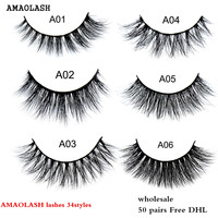 AMAOLASH Free DHL 50pcs 3D Mink Lashes Luxury handmade makeup Mink false eyelashes Natural long Cross thick lashes 34Style Mix