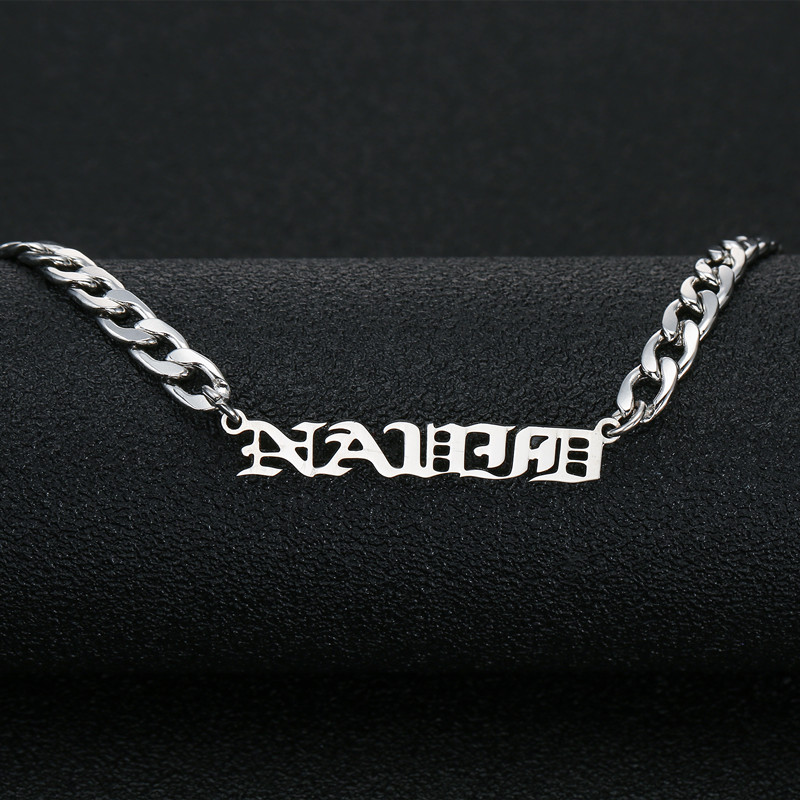 Old English Name Necklace - Curb Chain Name Pendant Personalized Necklace Custom Name Necklace