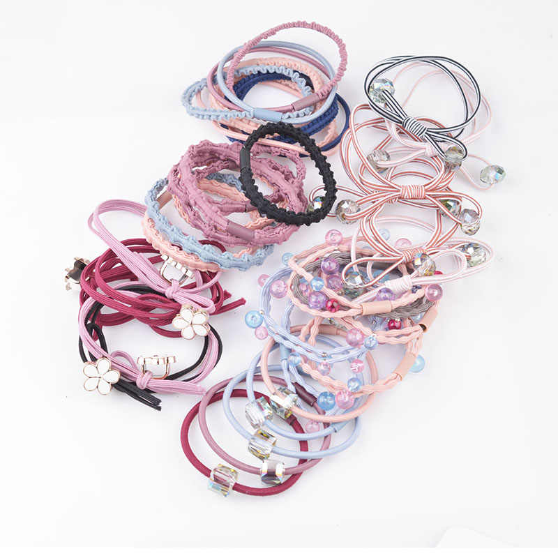 5pcs/lot Multicolor Beads Hair Holders Rubber Bands Elastics Girl Women Ponytail Tie Gum Fashion Hair Accessories Hair Rope A8