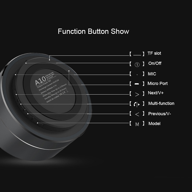 A10 Bluetooth Speaker Bass Mini Portable Speaker Subwoofer Sound with Mic Support TF Card FM Radio AUX for iPhone For Xiaomi