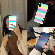 COOL Laser Rainbow Luminous Case For iphone X XS Max XR 7 8 6 6S Plus Luxury Matte Phone Cases TPU Glitter Back Cover Coque Capa