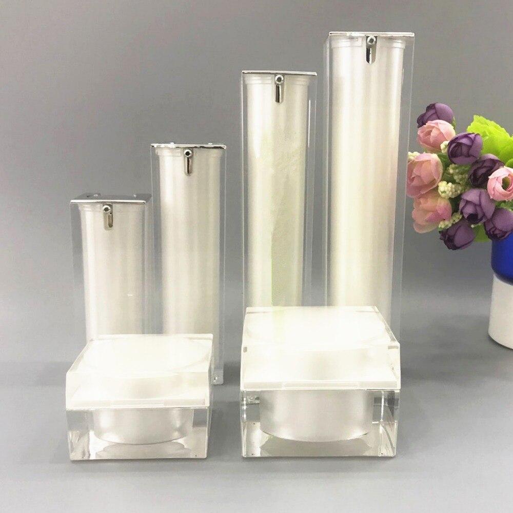 все цены на High Grade White Cosmetics Sub Acrylic 15/30/50/100ML Lotion Pump Bottle, Classic 15/30/50G Acrylic Cream Jar 6PCS 1Suit онлайн