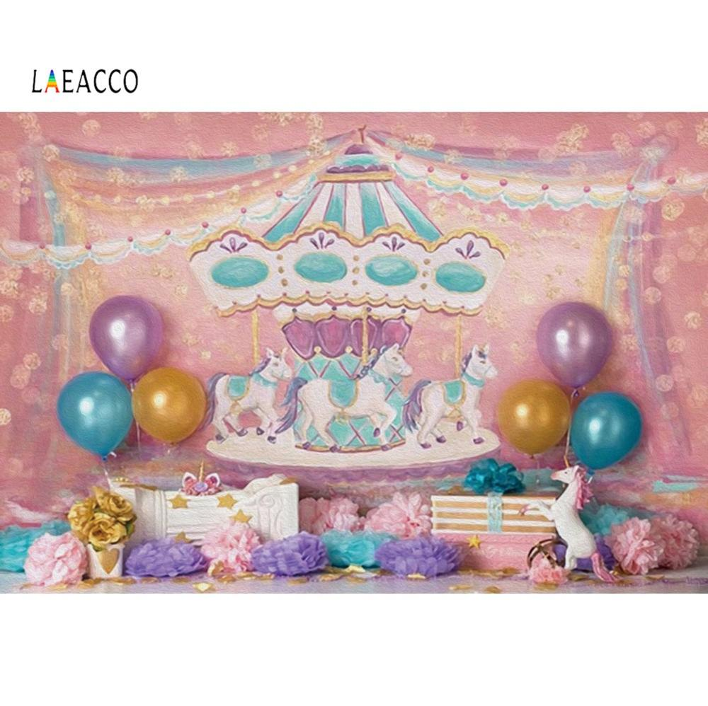 Laeacco Unicorn Birthday Party Baby Carousel Balloon Gift Cake Curtain Oil Painting Party Photo Background Photography Backdrop