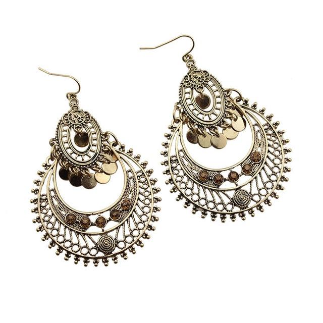 76409e6e5319 Indian Style Drop Earring for Women Antique Gold Color Vintage Wedding  Retro Dangle Earrings Pendientes Wholesale
