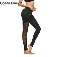 Ocean Bluevin Marka Casual Legginsy Boczne Hollow Perspektywa Szycie Nowych Kobiet Fitness Wiosna Lato Legging Pant Mesh Insert