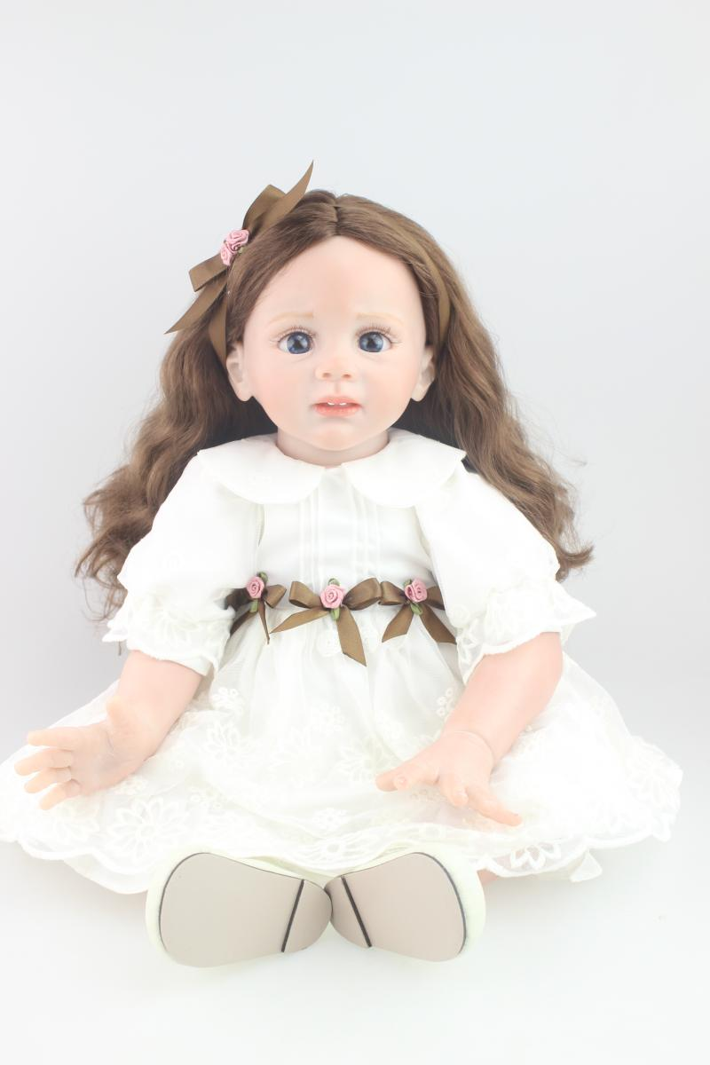 New 24 60cm Silicone Reborn Fridolin Doll Toy Long Hair Princess Girl Toddler Doll Child Kids Birthday Gift Play House Toy new kids personalized gifts trolls cartoon magic long hair princess doll gift anime toy figures led ledclock toys for children