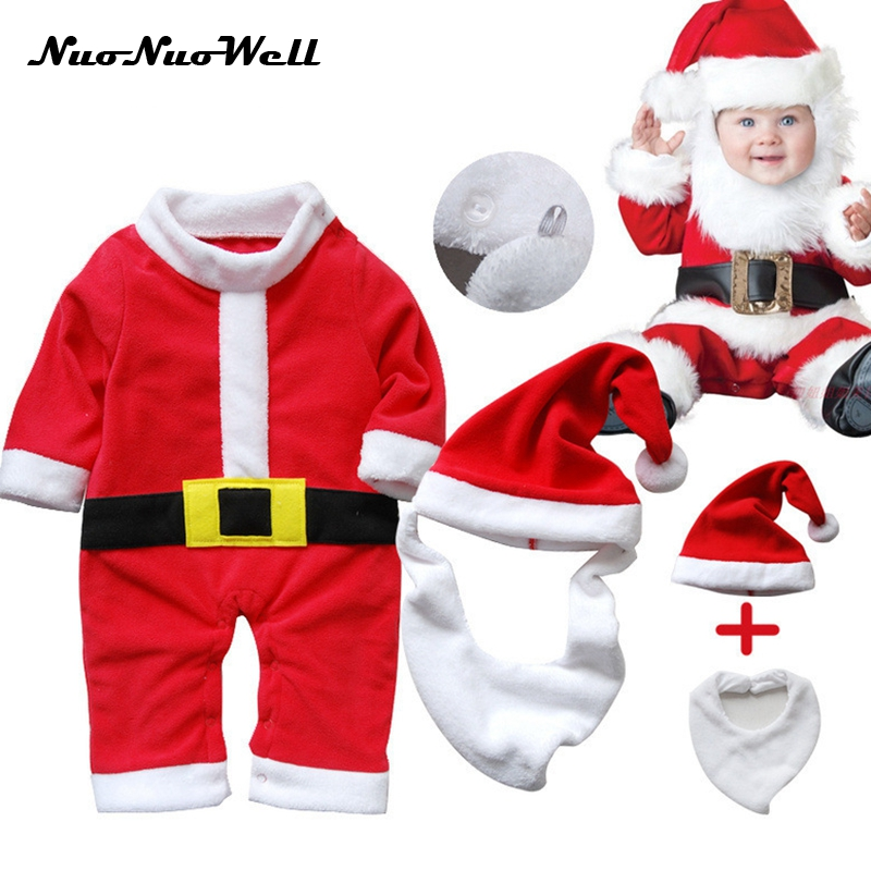 NNW 2017 Autumn/Winter Christmas Baby Cothes Santa Claus Hat+Bib+Romper Costume For Boys/Girls newborn bebe Rompers for New Year christmas gift 2016 hot baby jumpsuit santa claus clothes kids overalls newborn boys girls romper children costume