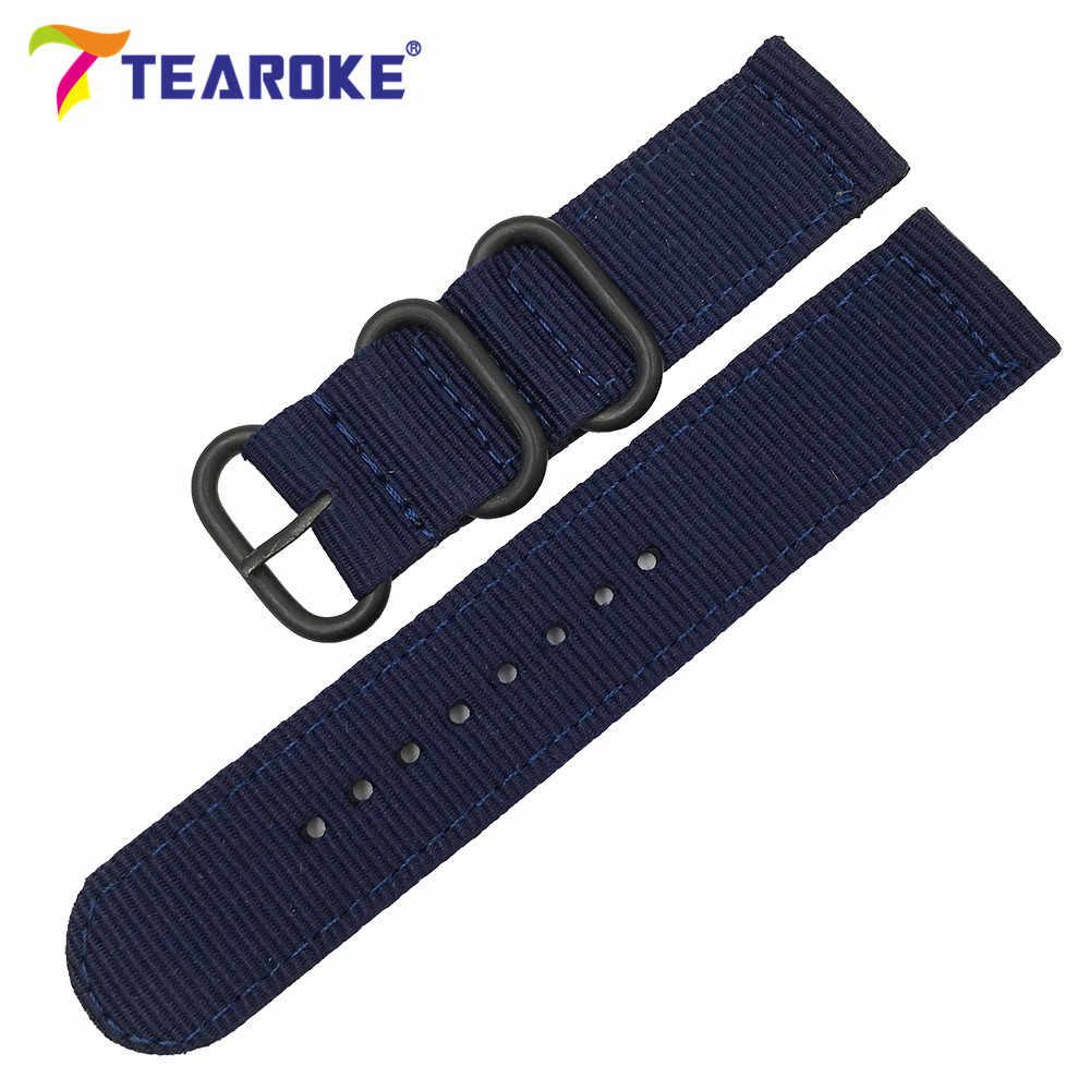 "TEAROKE 6 צבעים נאט""ו רצועת השעון ניילון רצועה שחור טבעת אבזם 18mm 20mm 22mm 24mm פסים החלפה להקת אביזרי שעון"