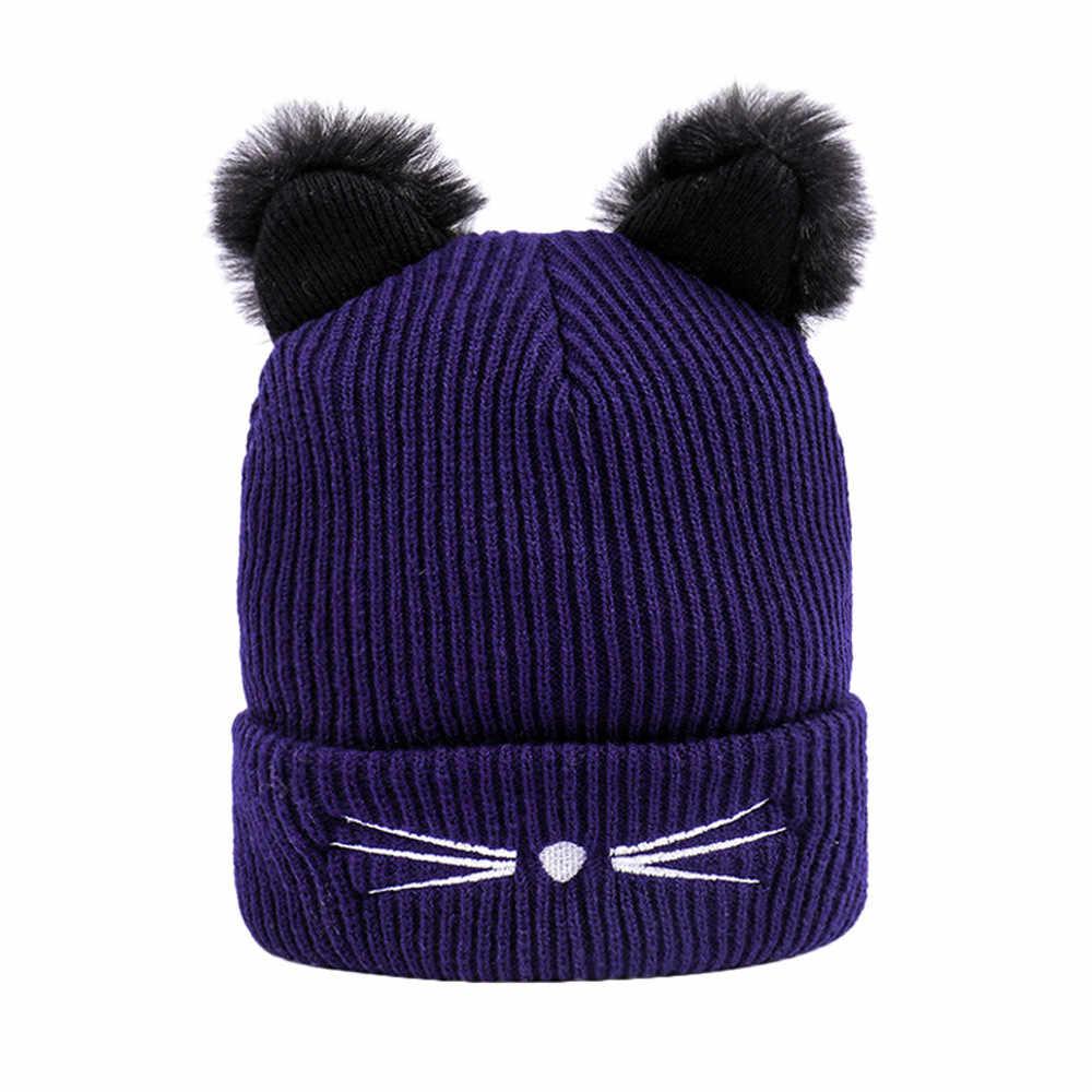 5ff2fd2b1a4 ... 2018 Fashion Winter Women Caps Cute Cat Ear Warm Hats Knitted Wool  Hemming Hat for Girls ...
