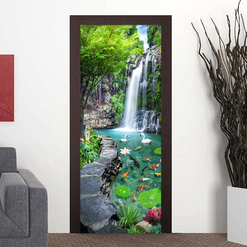 Chinese Style Waterfall Landscape Photo Mural Wallpaper 3D Home Decor Living Room Kitchen Door Sticker PVC Self-Adhesive Sticker