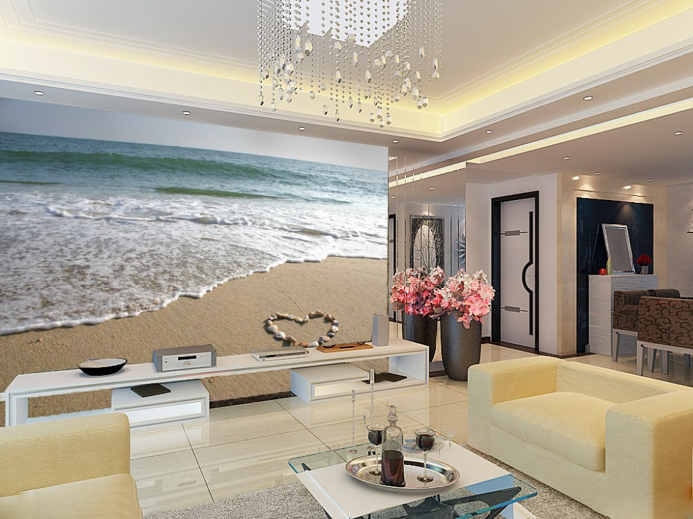 [Self-Adhesive] 3D Romance Love Heart Beach 23 Wall Paper Mural Wall Print Decal Wall Murals