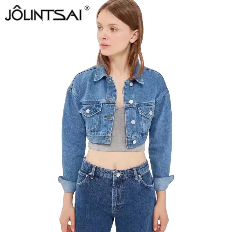 85c0267cf43 Autumn Short Denim Jacket Women 2018 Vintage Harajuku Jeans Coat Girls Slim Cropped  Jackets Bomber Outerwear