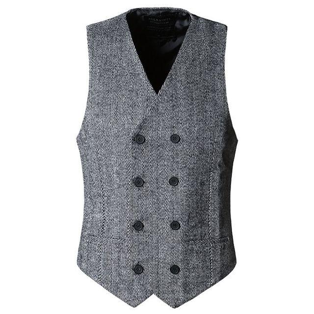 Inverno Estilo Britânico de Negócios Blazer Colete Slim Fit Suit Vest Colete Masculino Casaco Sem Mangas Com Decote Em V Colete 72305