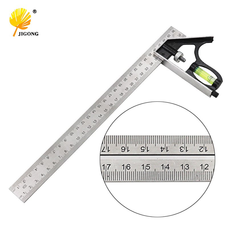 Angle Square Measuring Tools Set Precise Stainless Steel Aluminium Durable Adjustable Combination Spirit Level 12inch 300mm
