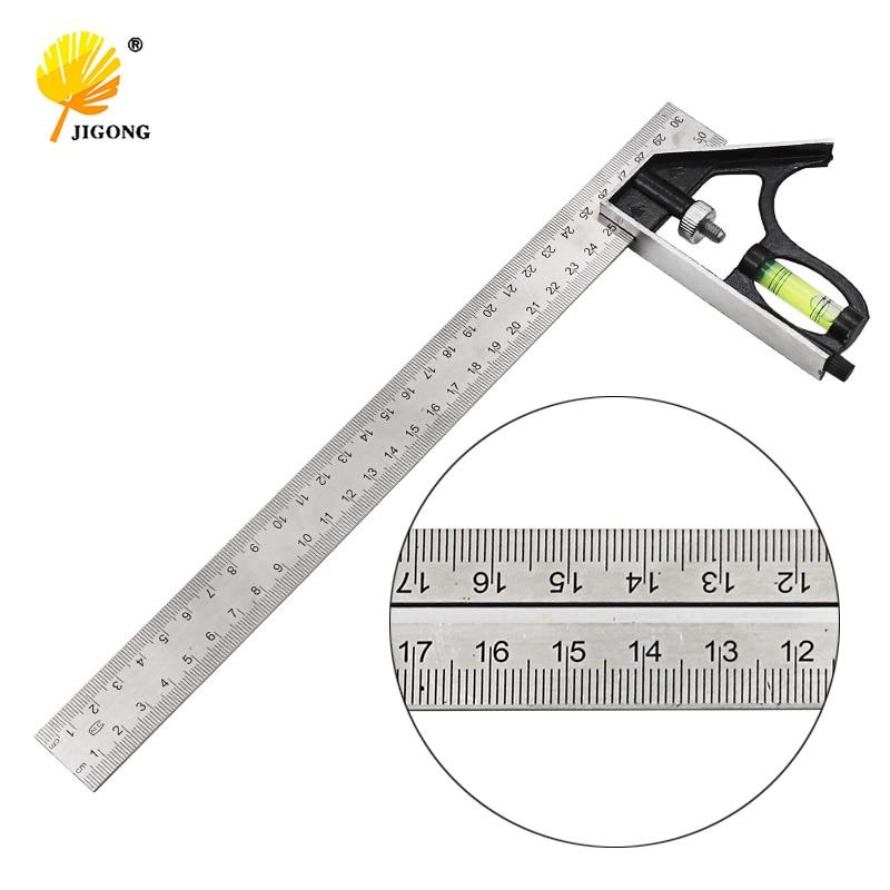 Набор инструментов для измерения углов и квадратов из нержавеющей стали и алюминия, прочная Регулируемая комбинация, спиртовой уровень 12 д...