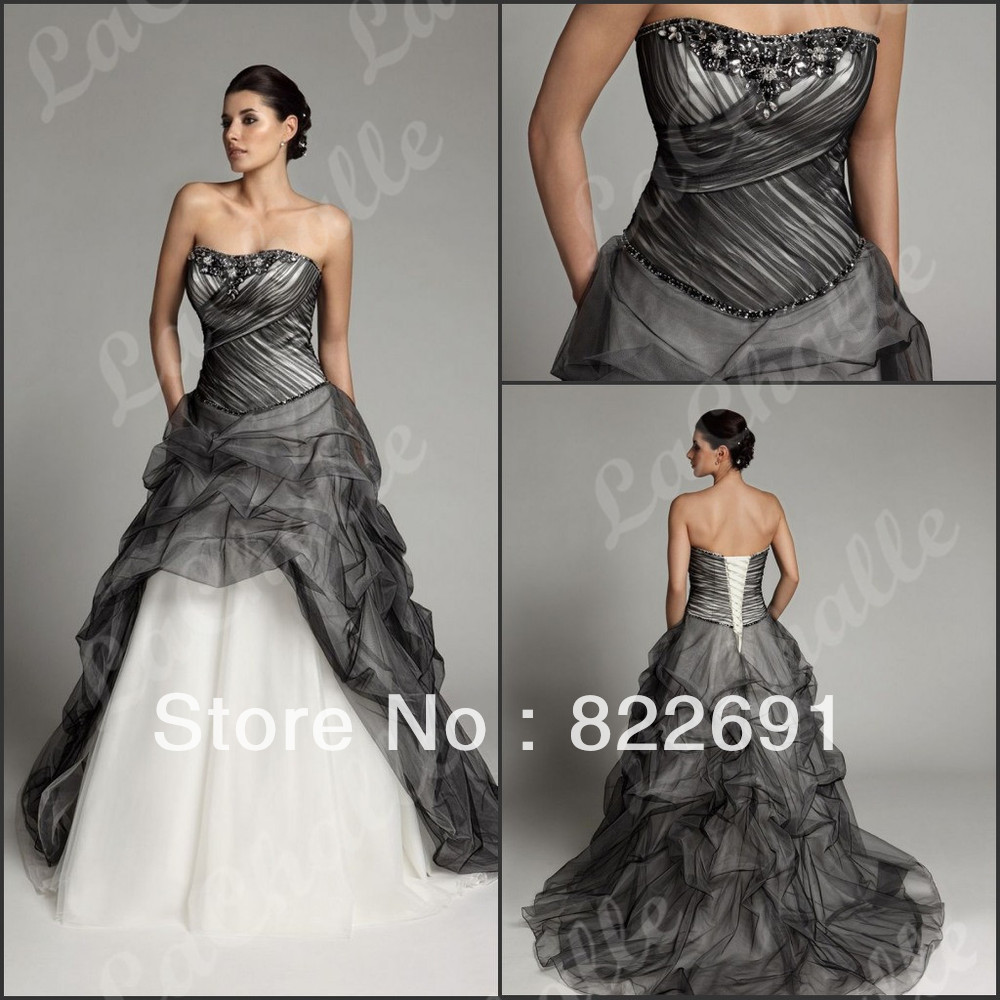 Free Shipping A Line Embroidery Strapless Black And White