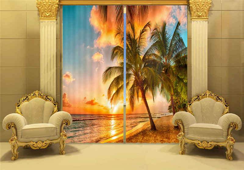 The sunset at the seaside 3D Painting Blackout Curtains Office Bedding Room Living Room Sunshade Window Bedding set Custom-madeThe sunset at the seaside 3D Painting Blackout Curtains Office Bedding Room Living Room Sunshade Window Bedding set Custom-made