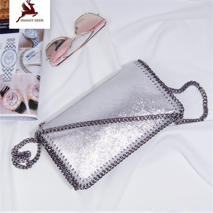 19 Colors Shaggy Deer Brand High Quality PVC Faux Leahter Small Flap Bag Lady Crossbody Heavy Chain Shoulder Bag цена
