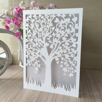 50pcs Heart Tree Wedding Party decoration Invitation Cover Card Folded Wedding Wishing Well Card Pearl Paper Bridal Shower Card