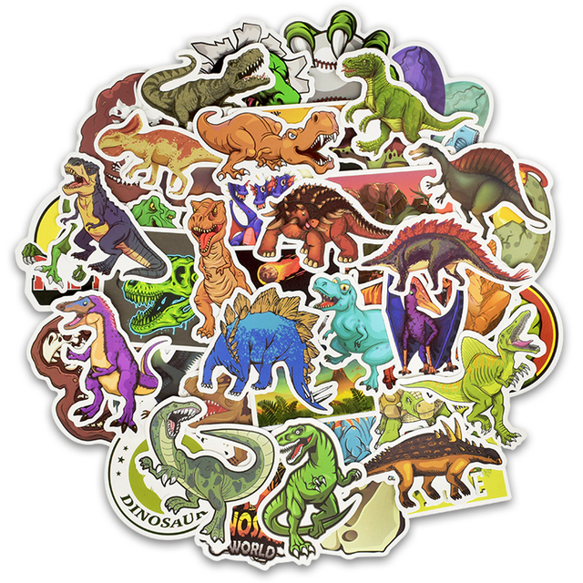 50pcs/Set Animal Dinosaur Stickers Toys Children Waterproof Stickers To DIY Sticker on Laptop Skateboard Luggage Stickers