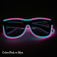 2019 Popular Glowing Product EL Wire Glasses with Dark Lens Double Lighting Colors Glasses 20pieces Holiday Lighting Props