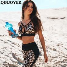 Женский спортивный костюм с леопардовым принтом, женская одежда для фитнеса, спортивная одежда, набор для йоги, спортивный костюм для бега, спортивные Леггинсы для бега, Женский комплект